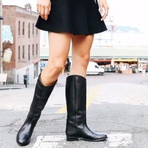 Frye Melissa Button Leather Riding Boot Black 7